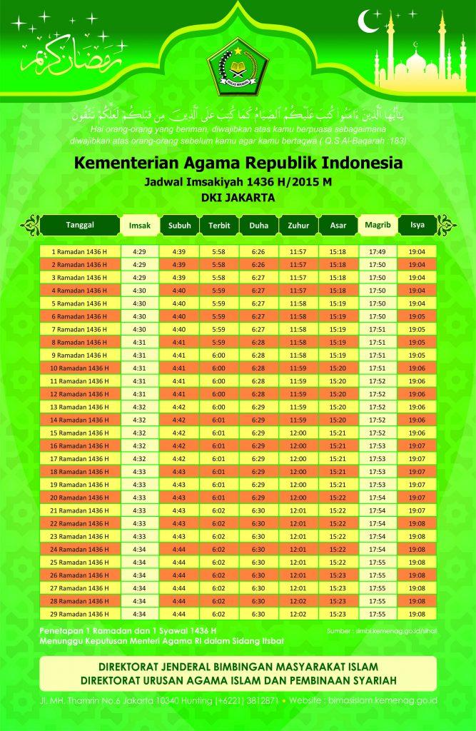 Jadwal Puasa Imsakiyah 2015 / 1436H