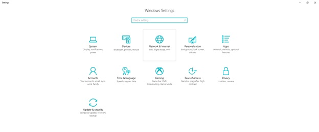 Setting Network Internet di Windows 10