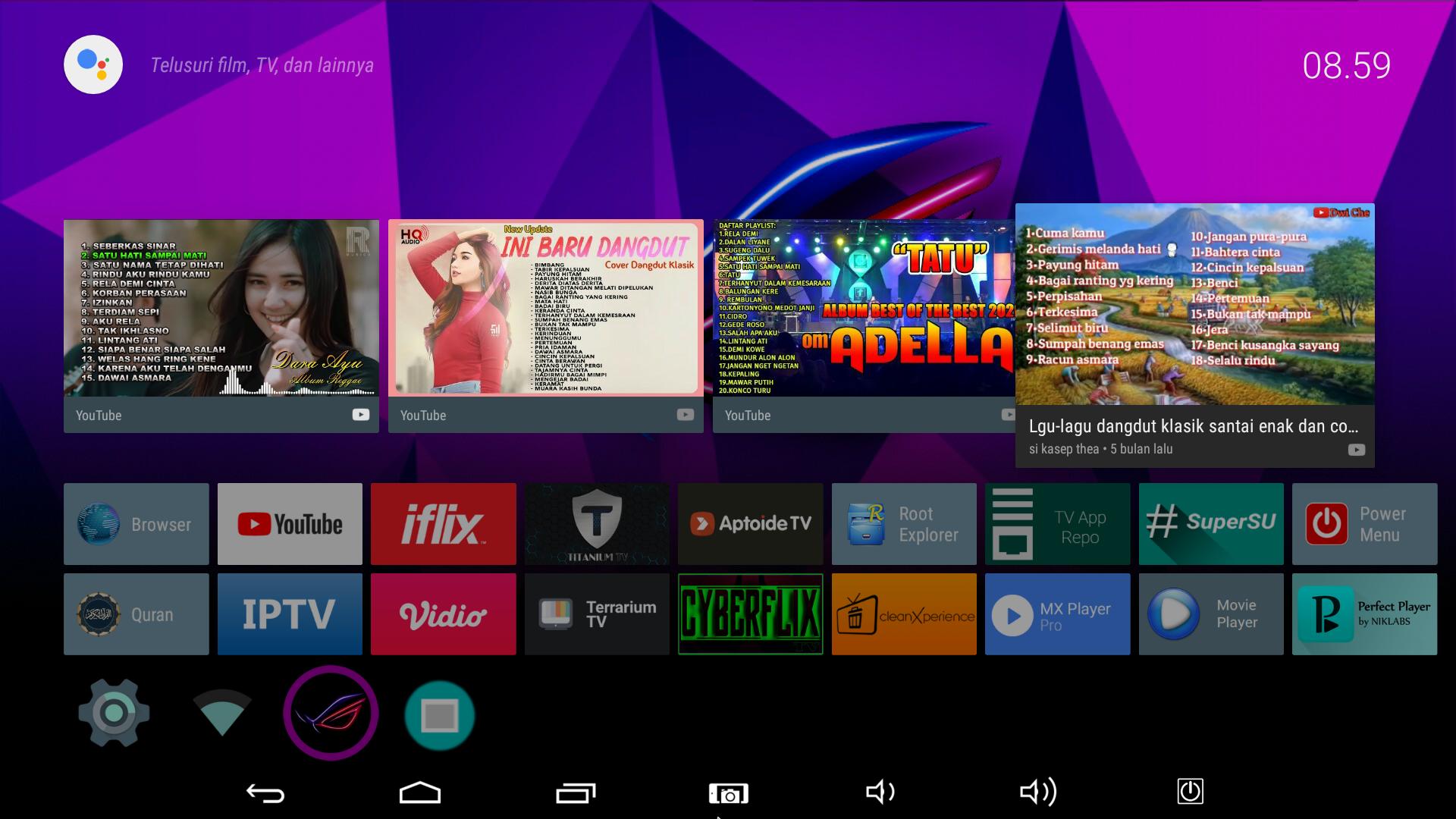 Tampilan Utama Android TV Fiberhome HG680P